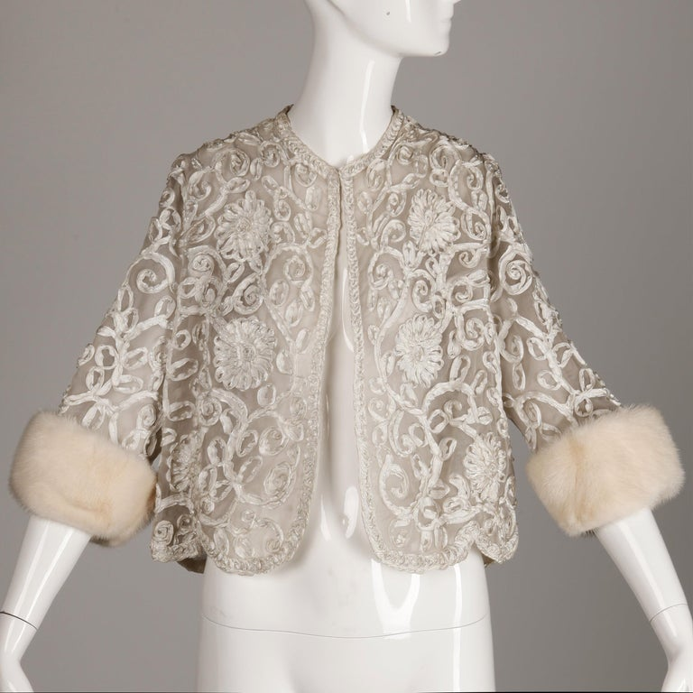 Brown 1960s Vintage White Ribbon Jacket with Mink Fur Cuffs For Sale