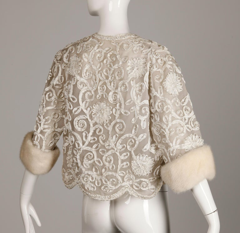 1960s Vintage White Ribbon Jacket with Mink Fur Cuffs For Sale 1