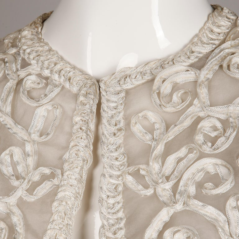1960s Vintage White Ribbon Jacket with Mink Fur Cuffs For Sale 2