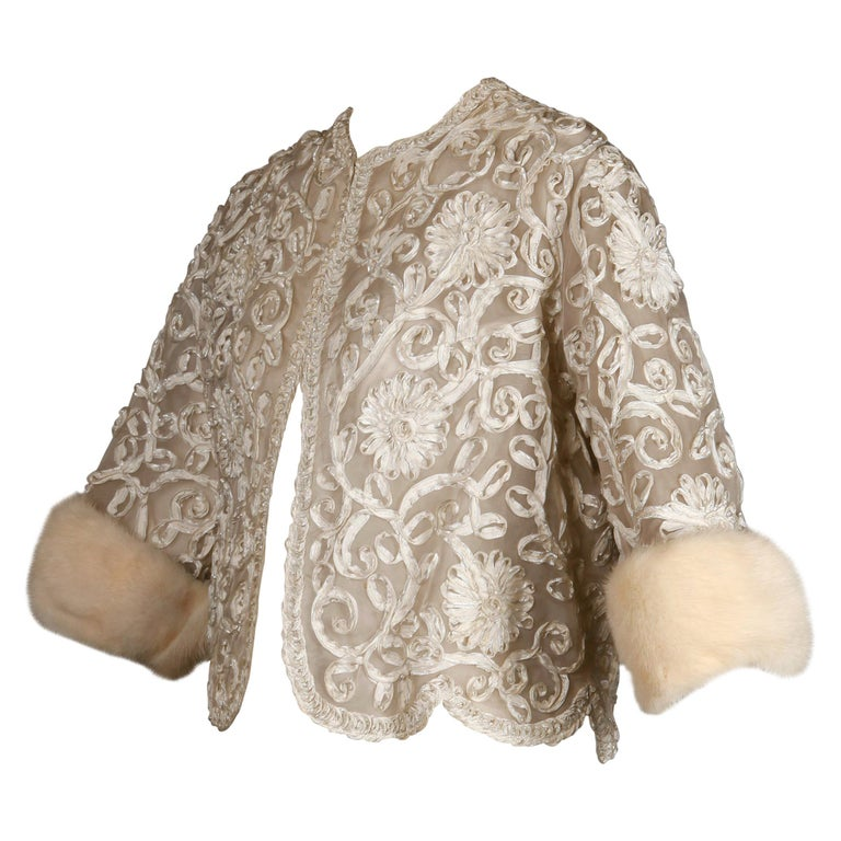 1960s Vintage White Ribbon Jacket with Mink Fur Cuffs For Sale