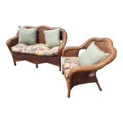 1960s Vintage Wicker Rattan Loveseat and Chair Set in Floral Upholstery,2 Pieces