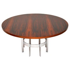 1960s Vintage Wood & Chrome Dining Table by Merrow Associates