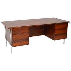 1960s Vintage Wooden / Chrome Executive Desk