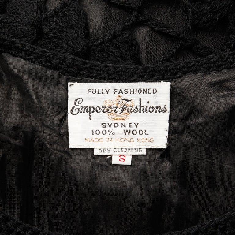 Black 1960s Vintage Wool Hand Crochet Dress For Sale