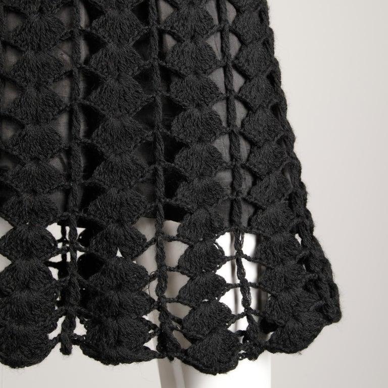 Women's 1960s Vintage Wool Hand Crochet Dress For Sale
