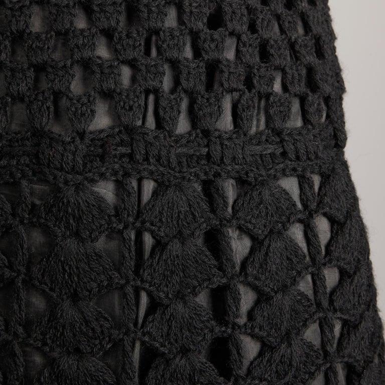 1960s Vintage Wool Hand Crochet Dress For Sale 2