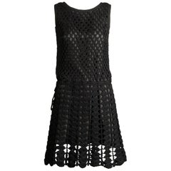 1960s Vintage Wool Hand Crochet Dress
