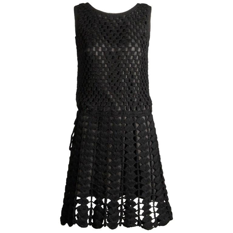 1960s Vintage Wool Hand Crochet Dress For Sale