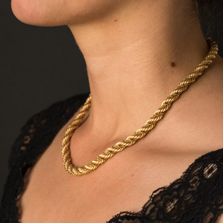 Women's 1960s Vintage Yellow Gold Braid Necklace For Sale