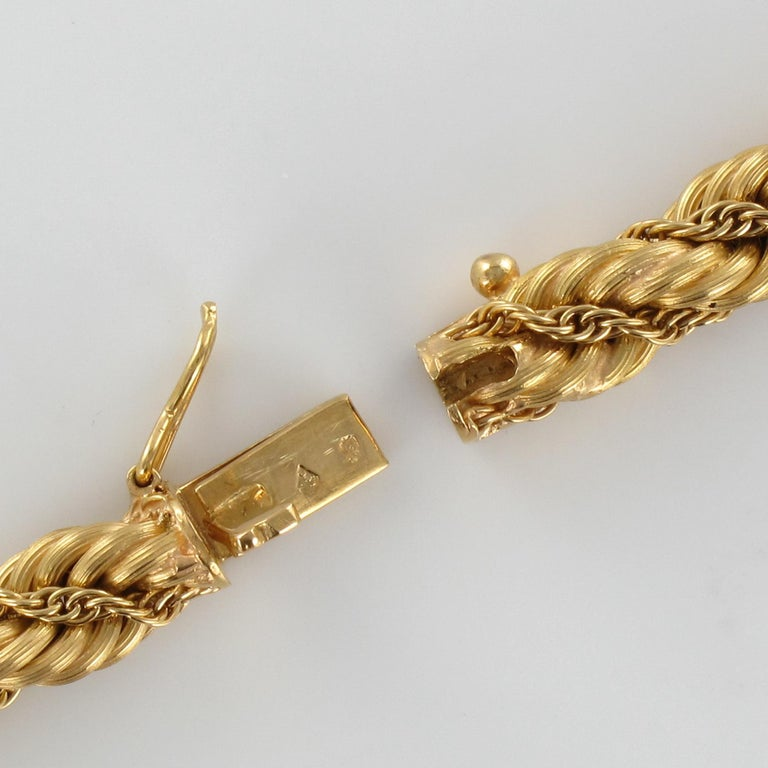 1960s Vintage Yellow Gold Braid Necklace For Sale 3