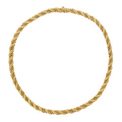 1960s Vintage Yellow Gold Braid Necklace