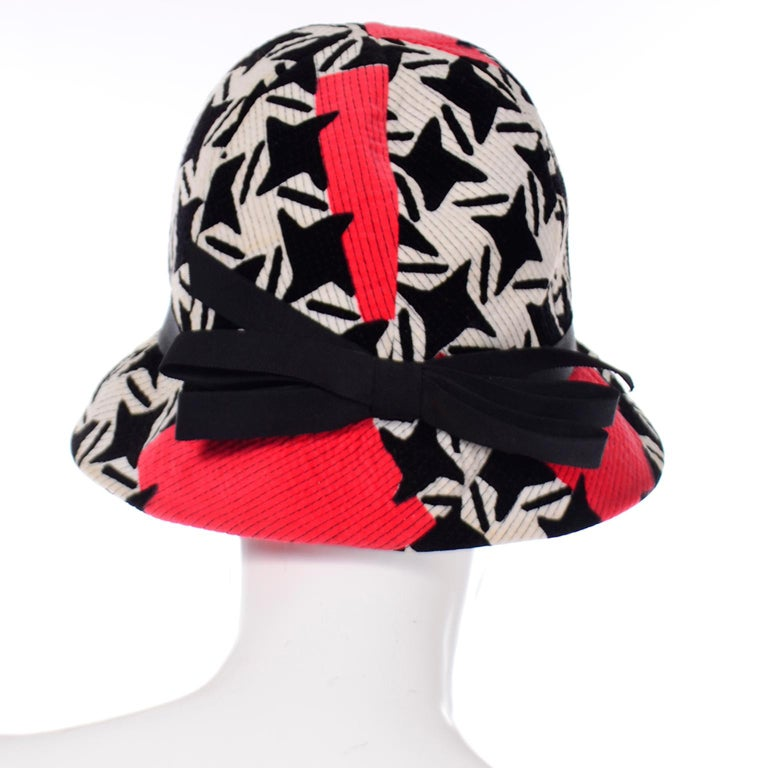 Women's 1960s Vintage YSL Yves Saint Laurent Bucket Hat in Black White Red Graphic Print For Sale