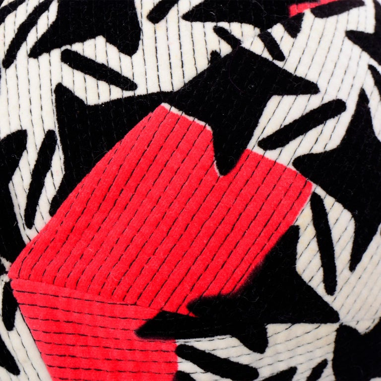 1960s Vintage YSL Yves Saint Laurent Bucket Hat in Black White Red Graphic Print For Sale 4