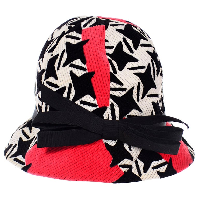 1960s Vintage YSL Yves Saint Laurent Bucket Hat in Black White Red Graphic Print For Sale