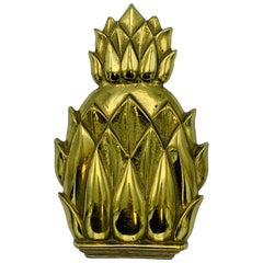 1960s Virginia Metalcrafters Brass Pineapple Door Knocker, 'Newport #4022'