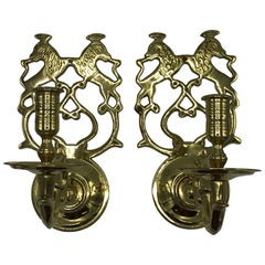 1960s Virginia Metalcrafters Single-Arm Candle Sconces with Crest Motif, Pair