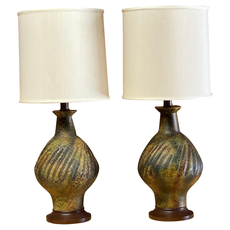 1960s Volcanic Glaze Ceramic Table Lamps, Pair