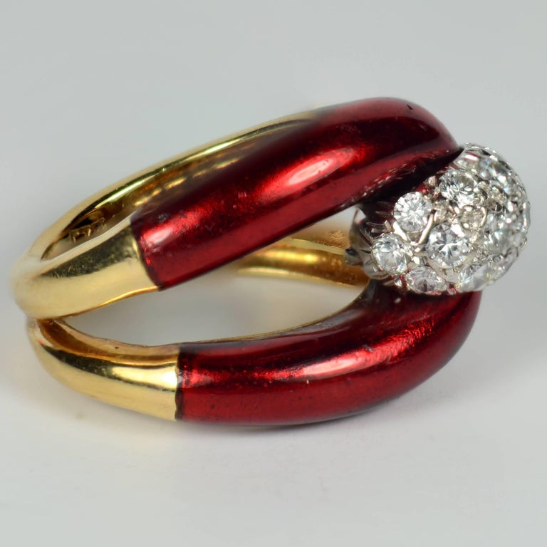 Round Cut 1960s Vourakis Red Enamel Pave Diamond Gold Buckle Ring For Sale