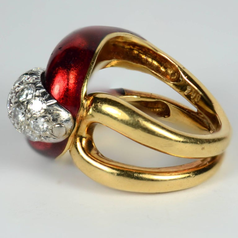 1960s Vourakis Red Enamel Pave Diamond Gold Buckle Ring In Good Condition For Sale In London, GB