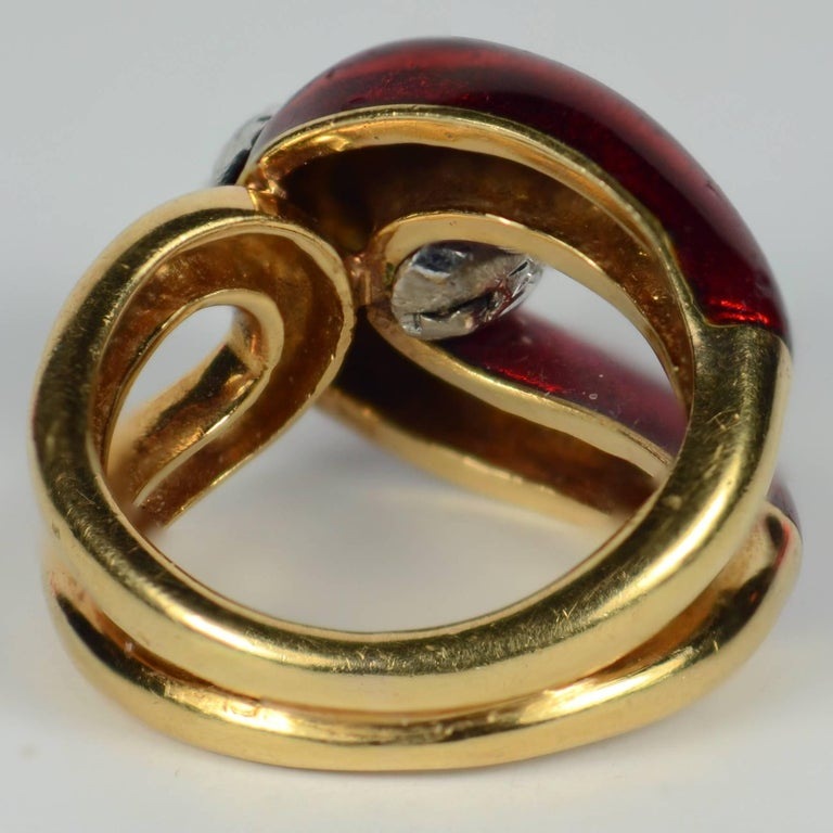 Women's 1960s Vourakis Red Enamel Pave Diamond Gold Buckle Ring For Sale