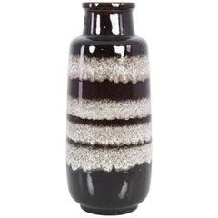 "1960s ""W. Germany"" Umber Lava Mid-Century Ceramic Vase"