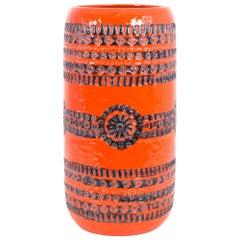 "1960s ""W. Germany"" Vivid Orange Mid-Century Ceramic Vase"