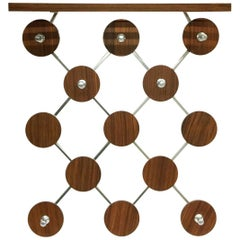 1960s Wall Mounted Coat Rack with Palissander Veneered Wood