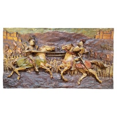 1960's Wall Sculpture Medieval Jousting by J. Segura