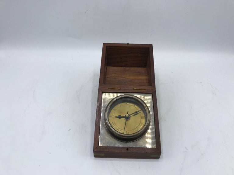1960s Walnut and Brass Inlay Box Desk Clock For Sale 4