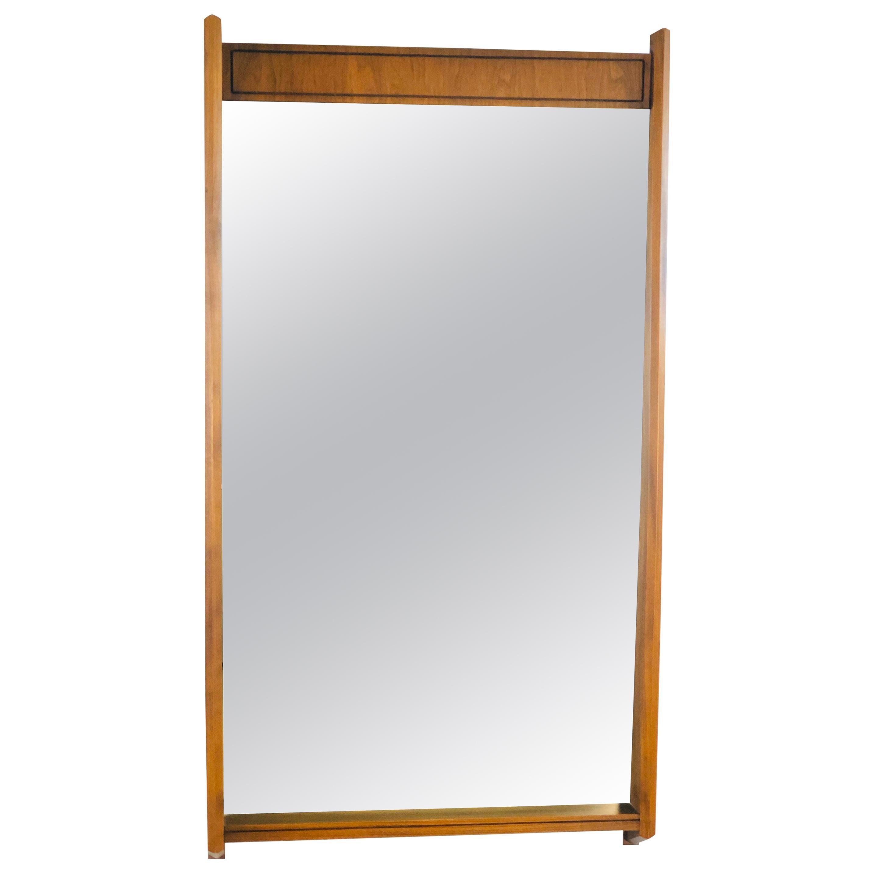 1960s Walnut Angled Front Wall Mirror