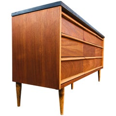 1960s Walnut and Black Painted 9-Drawer Dresser