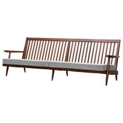 1960s Walnut, Grey Upholstery 4-Seat Sofa by George Nakashima 'C'