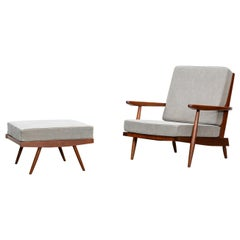 1960s Walnut, Grey Upholstery Armchair with Ottoman by George Nakashima