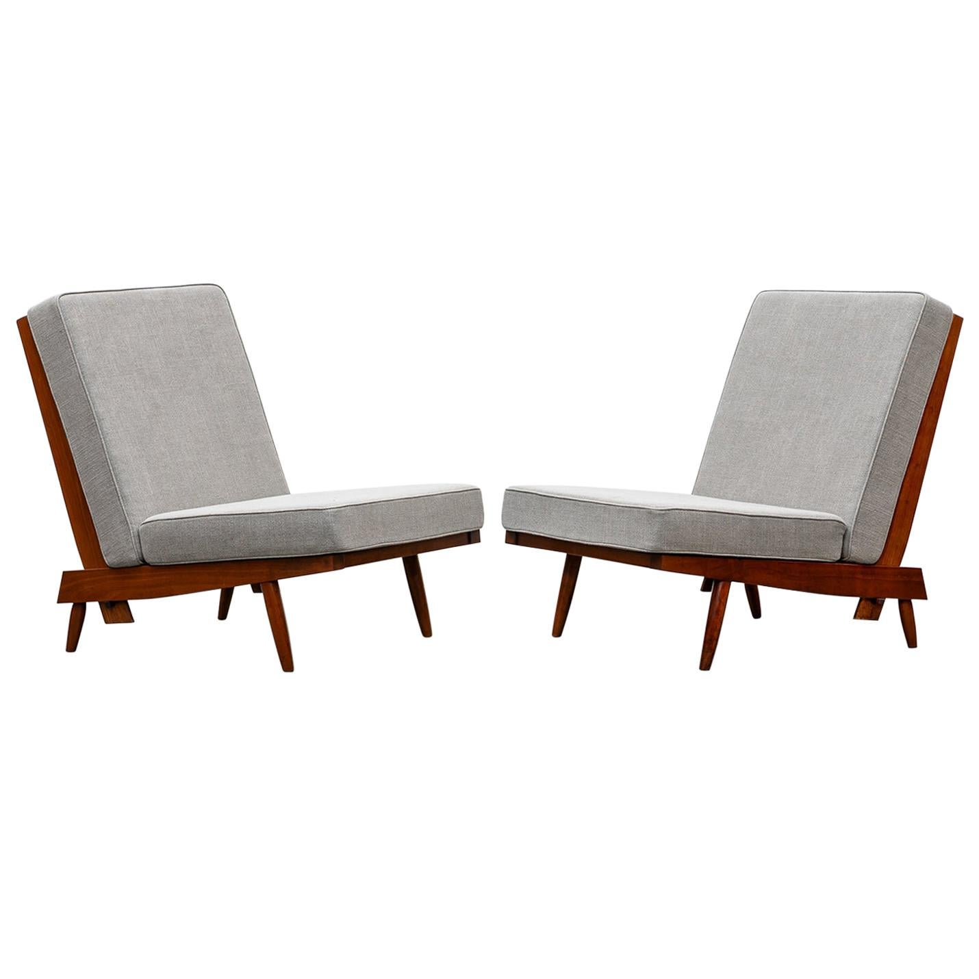 1960s Walnut, Grey Upholstery Lounge Chairs by George Nakashima 'd'