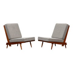 1960s Walnut, Grey Upholstery Lounge Chairs by George Nakashima