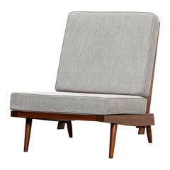 1960s Walnut, Grey Upholstery Single Lounge Chair by George Nakashima