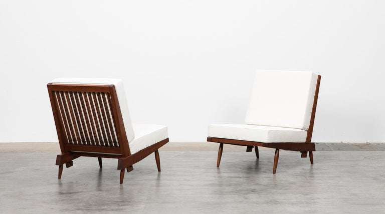 American 1960s Walnut Lounge Chairs by George Nakashima For Sale