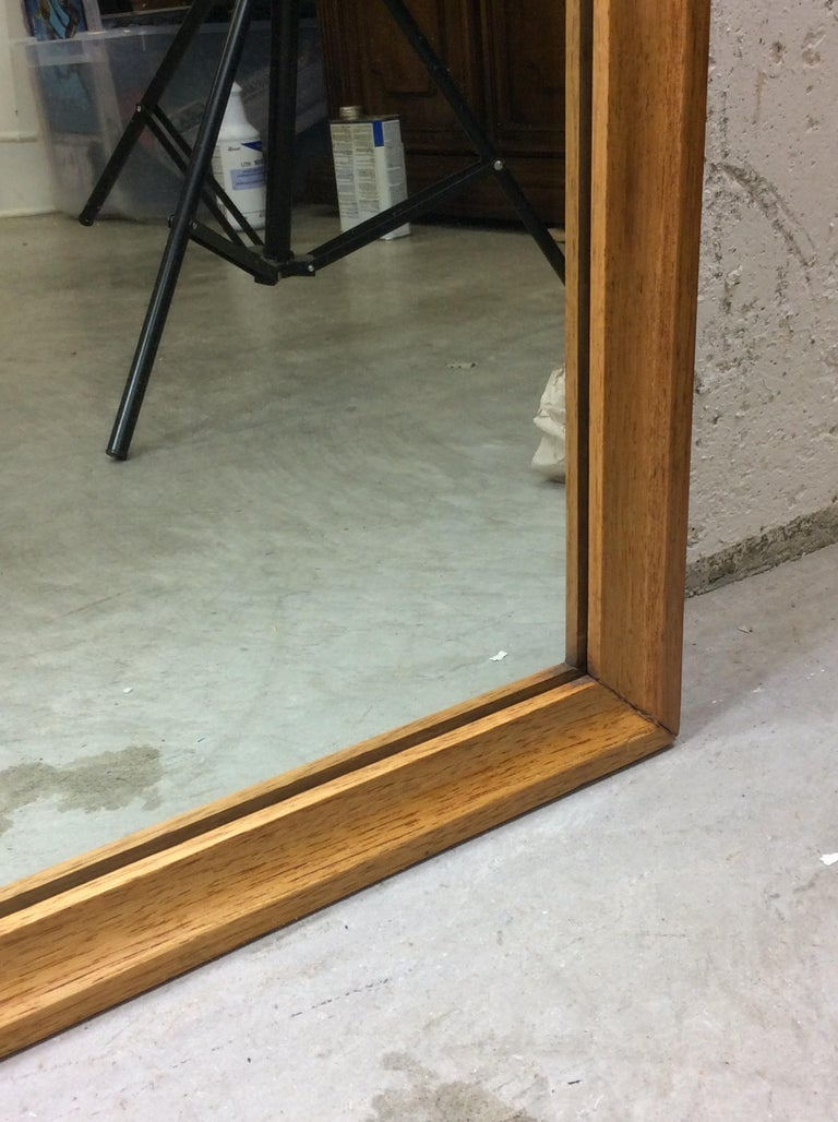 1960s Walnut Wood Framed Wall Mirror In Good Condition For Sale In Amherst, NH
