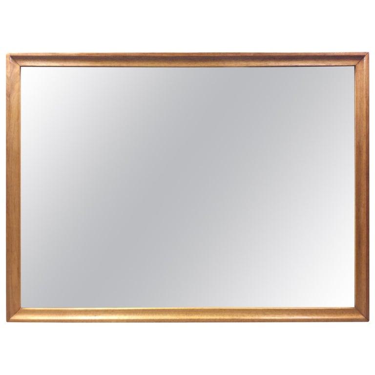 1960s Walnut Wood Framed Wall Mirror For Sale