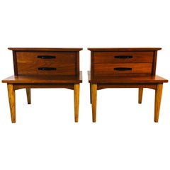 1960s Walnut Wood Step-Back Nightstands by Dixie Furniture Co, Pair