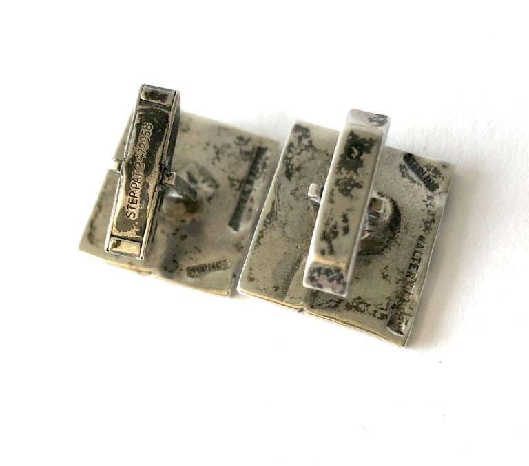Modernist 1960s Walter Wright Sterling Silver Knight Chess Player Cufflinks For Sale