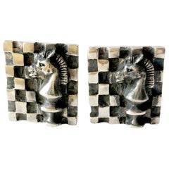 1960s Walter Wright Sterling Silver Knight Chess Player Cufflinks