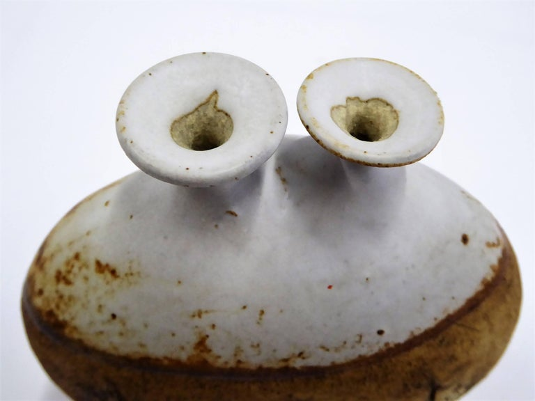 1960s Warren Hullow Art Pottery Vase Stoneware Weed Pot Twig Vase For Sale 2
