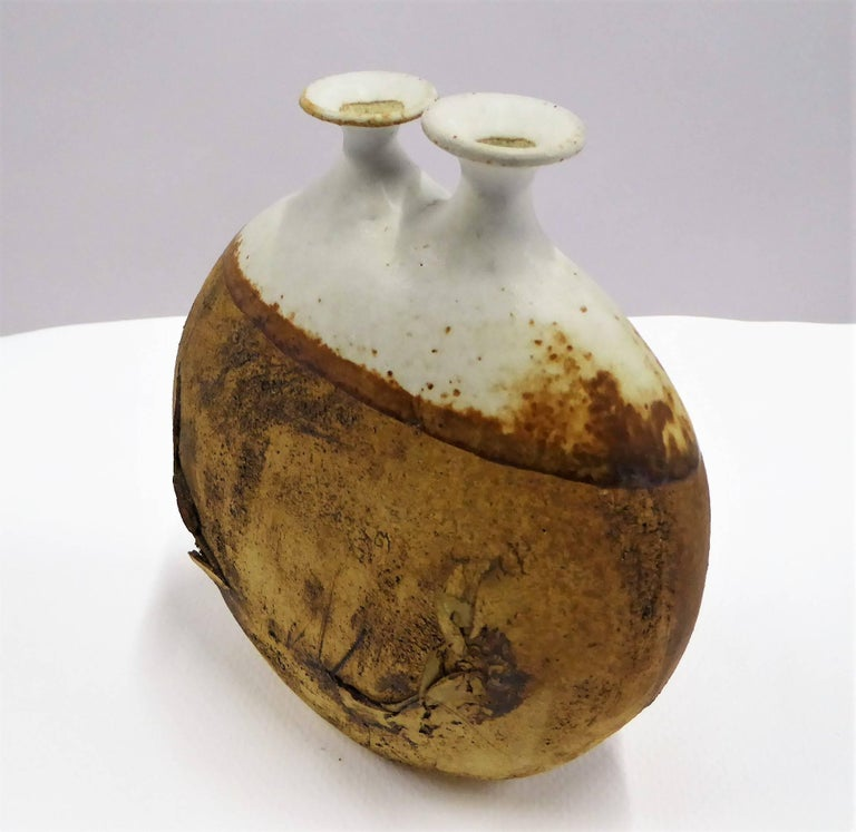 Mid-Century Modern 1960s Warren Hullow Art Pottery Vase Stoneware Weed Pot Twig Vase For Sale