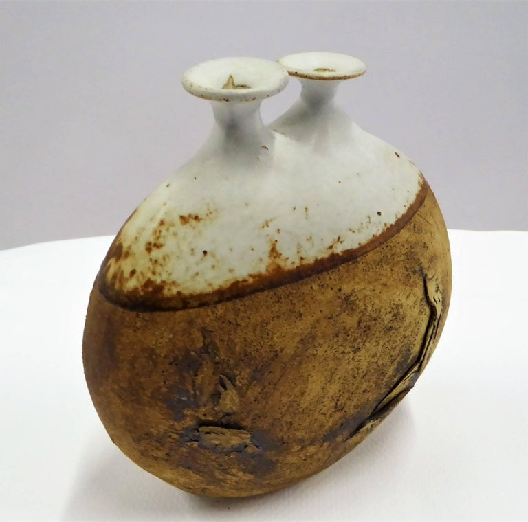 American 1960s Warren Hullow Art Pottery Vase Stoneware Weed Pot Twig Vase For Sale