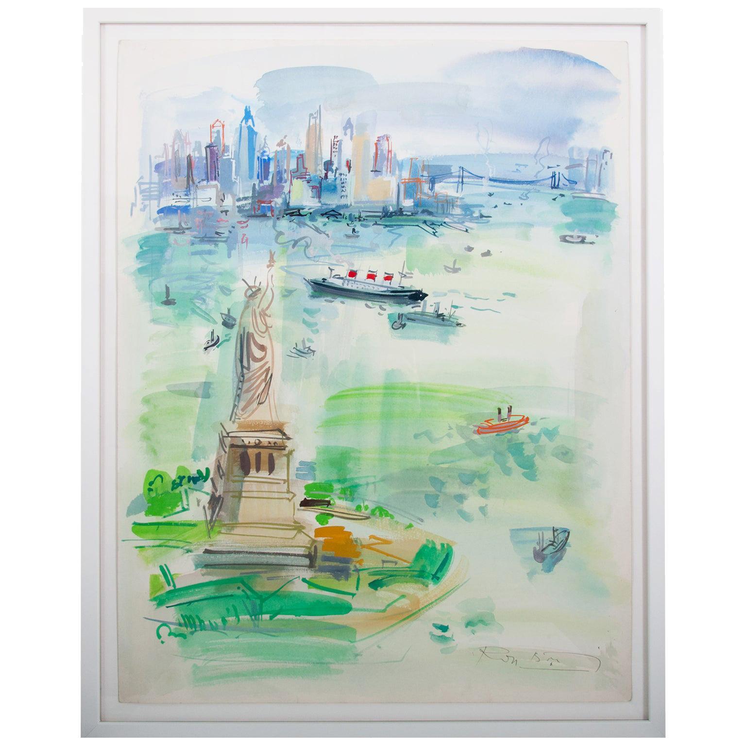 1960s Watercolor Vista of New York City by Roger Bertin