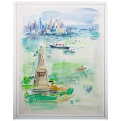 1960s Watercolor Vista of New York City by Roger Bertin