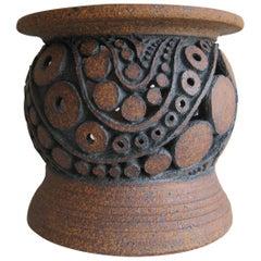 1960s Wayne Chapman San Diego California Studio Pottery Vessel Vase Candleholder