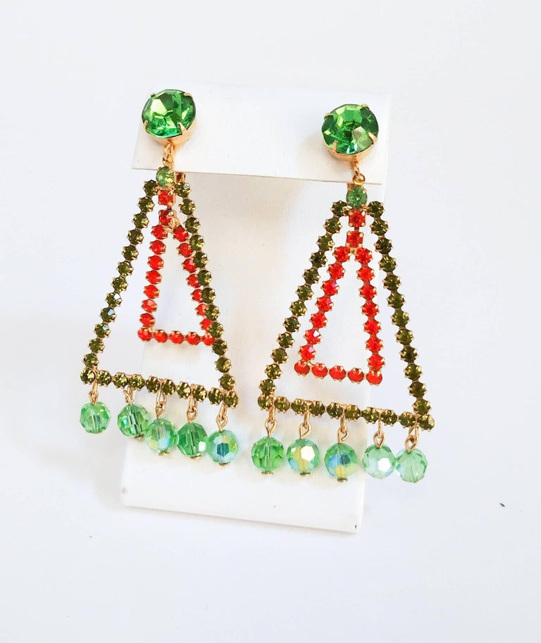 1960s Weiss Geometric Orange Green Earrings Triangular Clip On With Dangling