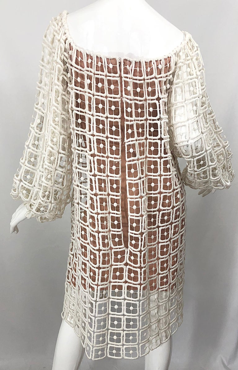 1960s Werle Beverly Hills Demi Couture Nude Ivory Silk Cotton 60s Vintage Dress For Sale 2